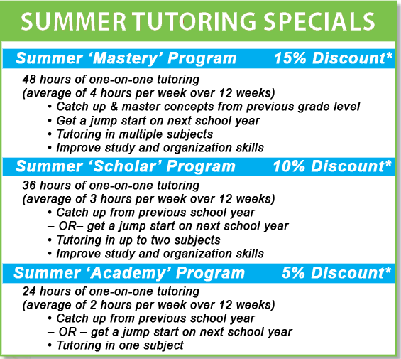 Tustin summer tutor and summer tutoring in Tustin